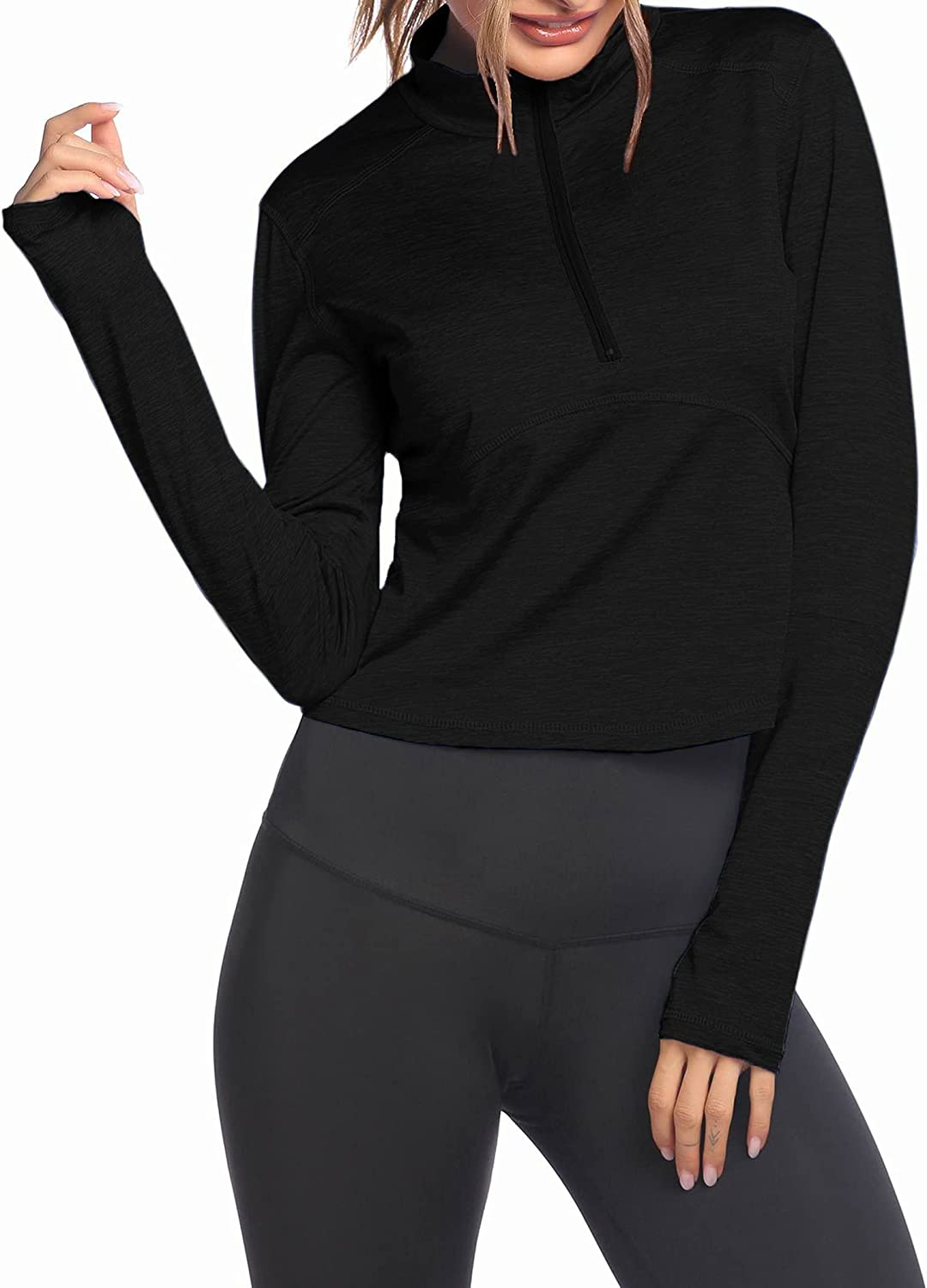 Pinspark Womens Long Sleeve Cropped H free Athletic Zip Pullover Oklahoma City Mall Half
