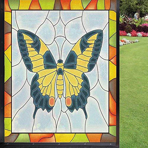 Película de privacidad para ventana, diseño de mariposas en vidrieras con marco de mariposas, decoración de jardín, decoración de sol, para hogar, cocina, oficina, multicolor, 60 x 90 cm