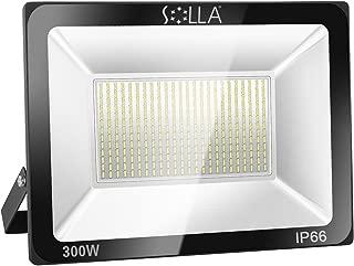 SOLLA 300W LED Flood Light, IP66 Waterproof, 24000lm, 1600W Equivalent, Super Bright Security Light, 6000K Daylight White, Exterior Lighting Outside Floodlight LED Stadium Light Spotlight Wall Light
