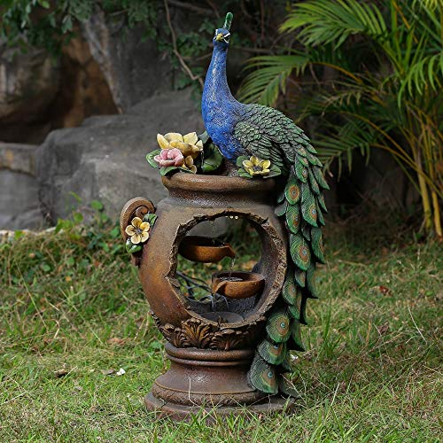 Peacock and Pot Polyresin Fountain with Led Lights Blue Green Traditional