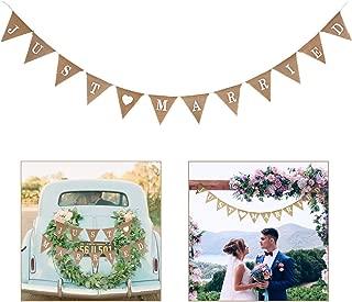 EHIOG Just Married Banner Burlap Wedding Banner Heart Patterns Wedding Photo Booth Props Romantic Wedding Decoration for Wedding Bridal Shower Engagement