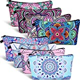 8 Pieces Cosmetic Bag Makeup Bag Waterproof Travel Toiletry Pouch Bag with Mandala Flowers Design, 8 Styles (Round Mandala Flowers)