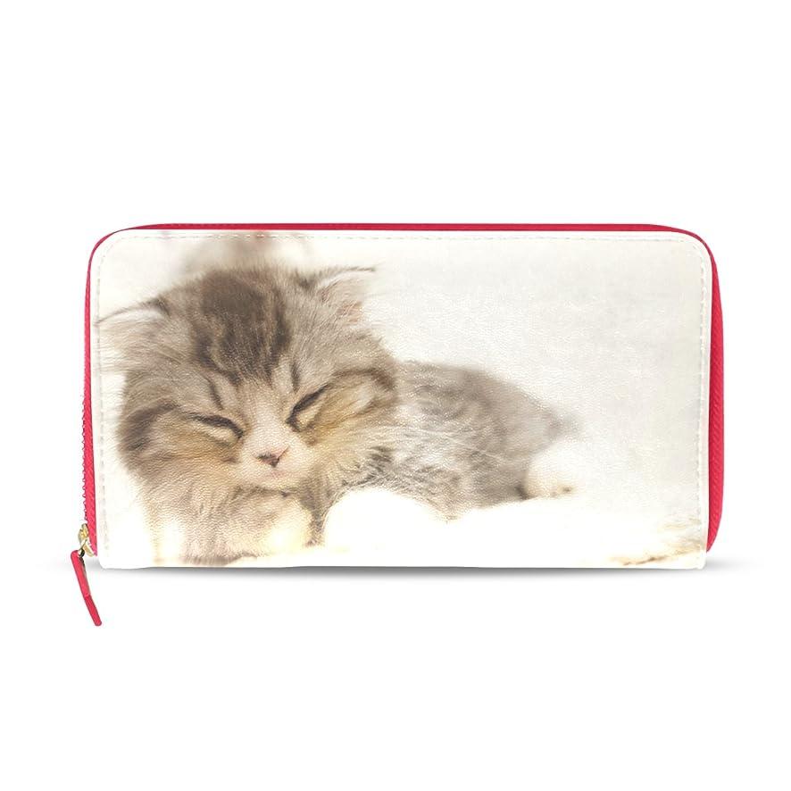 快いキャラクター実行するAOMOKI 財布 レディース 長財布 猫柄 ブラック ネコ スヤスヤ 癒す ラウンドファスナー PUレザー 大容量 二つ折り 幅20*丈11cm