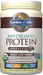 Garden of Life Raw Organic Protein Chocolate Powder, 20 Servings *Packaging May Vary* Certified Vegan, Gluten Free, Organic, Non-GMO, Plant Based Sugar Free Protein Shake with Probiotics & Enzymes