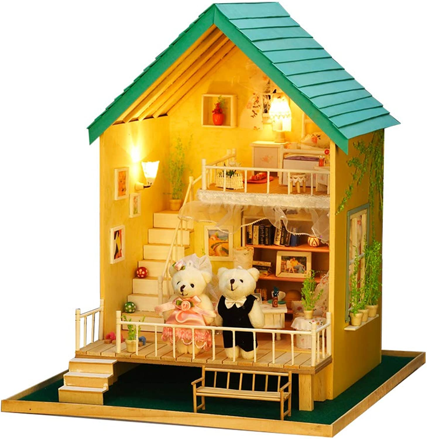 TAEONY DIY Dolls House, Wooden Dollhouse Miniature Furniture Kit with LED Light Creative Furniture Cabin for Kids and Adults Romantic Garden Birthday Gift