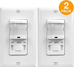 TOPGREENER In-Wall PIR Sensor Switch, Occupancy Sensor Switch, Motion Sensor Switch, On/Off Override, 500W, 4A, Single Pole, NEUTRAL WIRE REQUIRED, White, TSOS5-W, 2 Pack