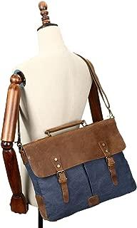 SGJFZD Retro Crazy Horseskin Bag Crossbody Men's Shoulder Bag Canvas Bag Laptop Bag (Color : Blue, Size : M)