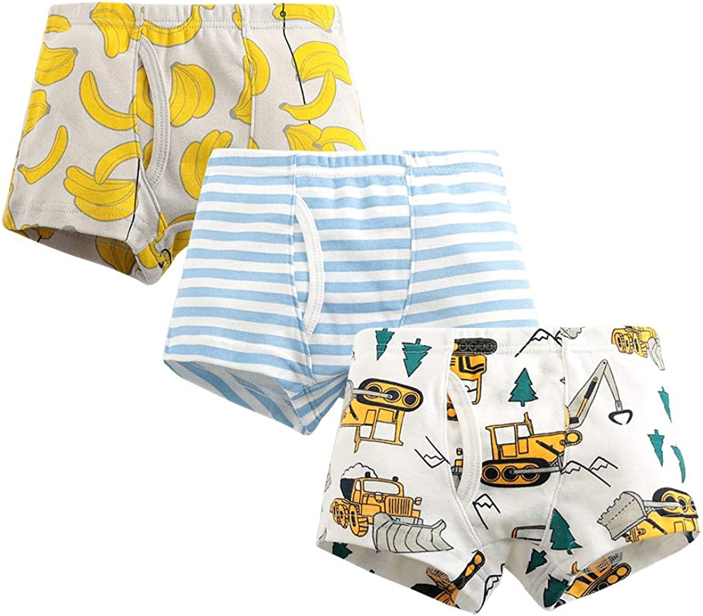 Boys' Boxer Briefs Cotton Soft Underwear Assorted Print for Kid Boys Pack of 3