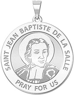 PicturesOnGold.com Saint Jean-Baptiste De La Salle Religious Medal - 1 Inch Size of a Quarter -Sterling Silver