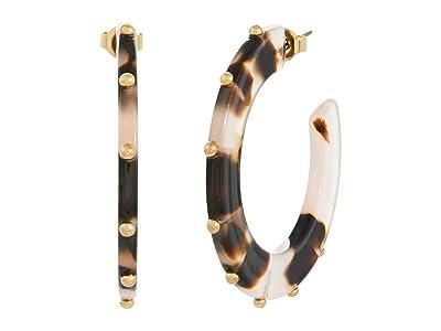 SOLE / SOCIETY 35 mm Studded Hoops (12K Soft Polish Gold/Rose Dusk Tortoise Shell) Earring