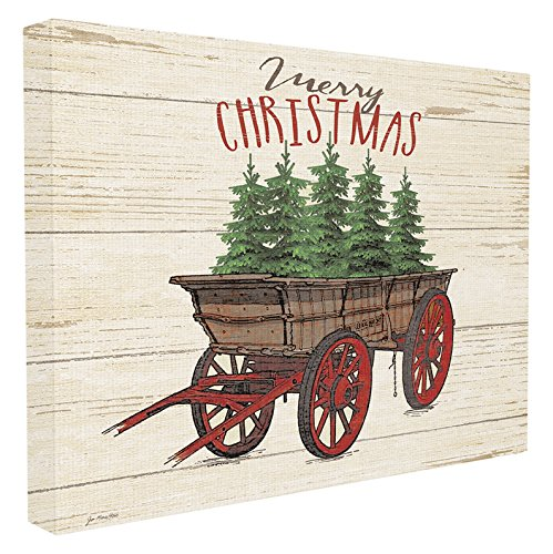 Stupell Industries Merry Christmas Tree Wagon Oversized Stretched Canvas Wall Art, Proudly Made in USA