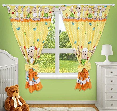 Leuke decoratieve gordijnen voor kinderkamer, geel met schapenmotief