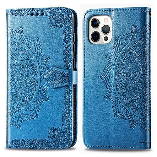"""Hülle für iPhone 12 / iPhone 12 Pro 6.1"""" Hülle Handyhülle [Standfunktion] [Kartenfach] Schutzhülle lederhülle klapphülle für iPhone 12 - DESD011748 Blau"""