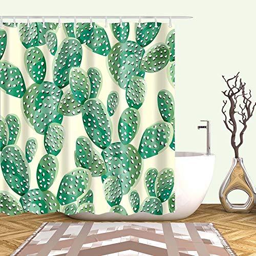 XCBN Tenda da bagno in Tessuto con Cactus tropicale Tenda da bagno per la decorazione del bagno Accessori da bagno stampati A2 150x180cm