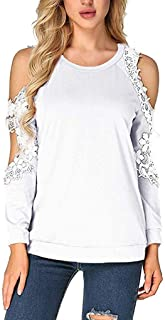 Gifts for Women,Women Off Shoulder Lace Top Long Sleeve Blouse Ladies Casual Tops Shirt
