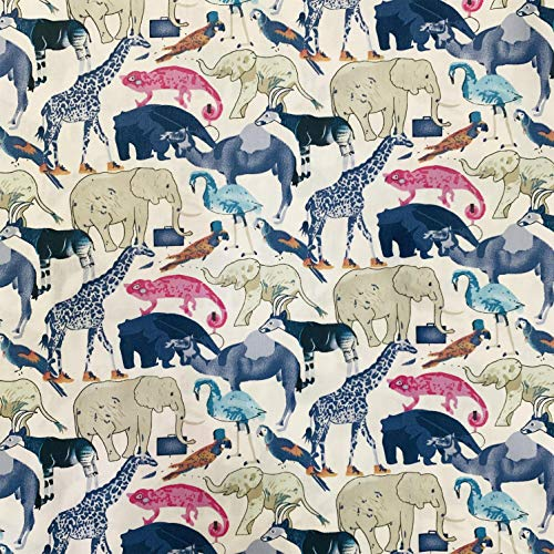 手作り布 タペストリー ファブリックパネル カーテン生地 給食袋生地 手芸用 100%コーミング綿素材 ツイル織 動物柄 (青いキリン 100cm)