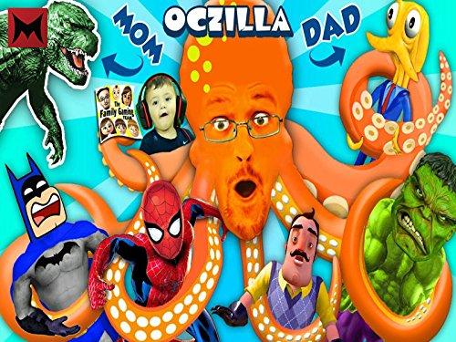 Godzilla Mommy, Octopus Daddy with Friends Batman, Spiderman, Hulk and Hello Neighbor Mart!