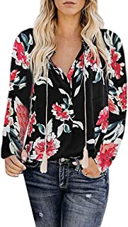 Women's Shirt Boho Ethnic Long Sleeve Print Loose Strappy/Button Down Blouse Tops