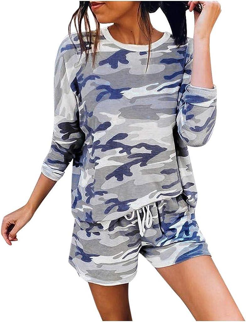 Loungewear for Women Sets,Womens Camouflage Pajamas Set Long Sleeve Tops and Shorts 2 Piece Lounge Set Nightwear