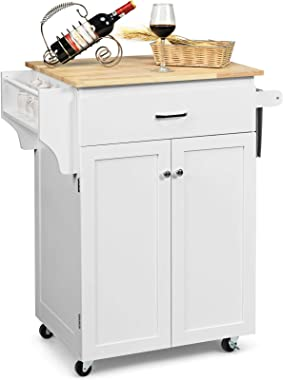 Giantex Rolling Kitchen Island, Kitchen Trolley Cart with Spice Rack, Large Drawer, Towel Rack, Storage Pantry Cabinet with A