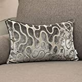 Yangest Silver Grey Velvet Wave Lumbar Throw Pillow Cover Wavy Line Luxury Cushion Case Modern Zippered Rectangular Pillowcase for Sofa Couch Bedroom Living Room Home Decorative, 12x20 Inch