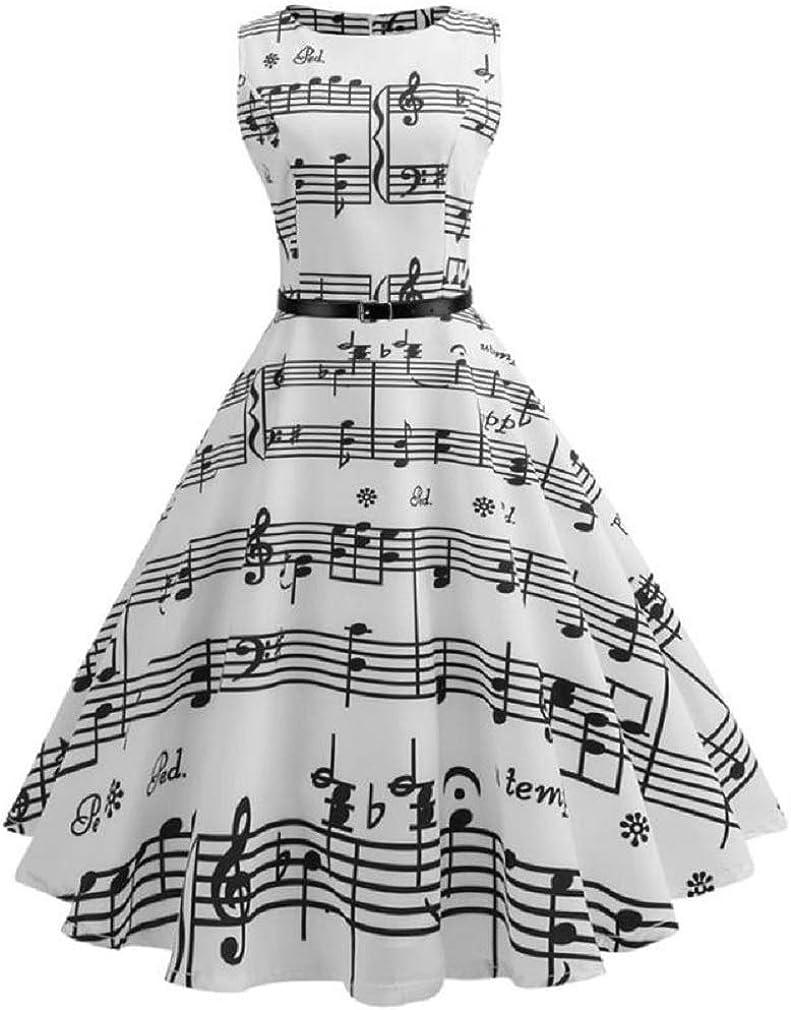 iDWZA Women Vintage Slim Wild Note Printing Bodycon Sleeveless Casual Evening Party Prom Swing Dress