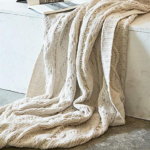 Liveinu Couverture Tricot de Coton Couvre-Lit Mérinos élégante pour Chaise Housse de Canapé Canapé et Lit Beige 130x180cm