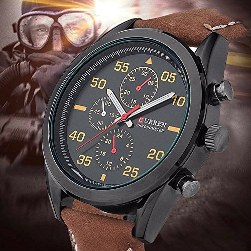 FENKOO Männer Curren Armbanduhr Quarz Wasserdicht Sportuhr Kalender echtem Leder Armbanduhr montre reloj relogio Masculino
