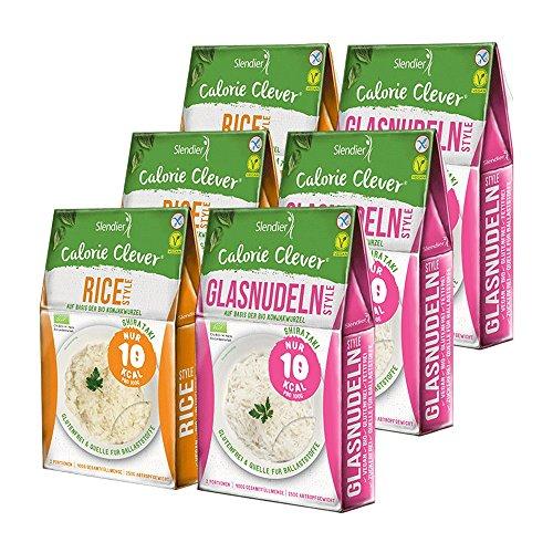 6 x Slendier Bio Konjak Nudeln, Probierpaket Energie, 3 x Glasnudel-Style 250 g + 3 x Rice-Style 250 g, Shirataki Nudeln, Bio-Qualität