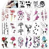 konsait 20 fogli finti tatuaggi temporanei impermeabile tatuaggio temporaneo adesivi tatoo per bambini adulti donna