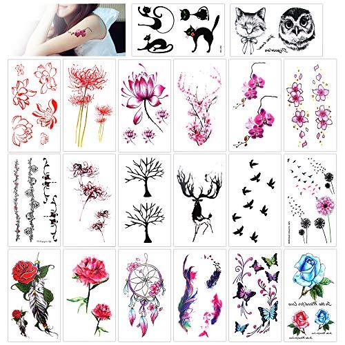 Konsait Tatouage temporaire pour adulte enfants femme homme (20 feuilles) Tattoos Étanche Tatouages Temporaires bras poignet body tattoo Sticker Tatouages éphémères, motifs variés