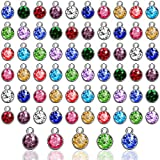 72 Pieces Crystal Birthstone Charms DIY Beads Pendant with Rings Handmade Round Crystal Charm for Jewelry Necklace Bracelet Earring Making Supplies, 7 mm (Light Colors)