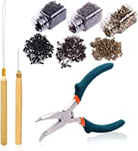 Extensión del cabello Kit de gancho y alicates de aguja de arrastre Herramienta de dispositivo de cordón de gancho de arrastre 1500 piezas 5 mm Negro Marrón Rubio Micro Anillos forrados de silicona 5