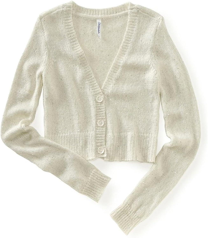Aeropostale Womens Cropped Metallic Cardigan Sweater