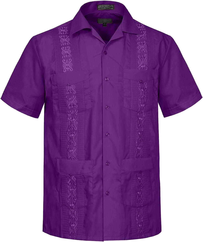 J. LOVNY Men's Casual Short Sleeve Cuban Guayabera Button Down Shirts Top XS-4XL
