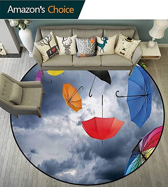 RUGSMAT Colorful Machine Washable Round Bath Mat Parasols On Foreground Of Dark Cumulus Rain Clouds Windy Stormy Day Shield Image Non Slip No Shedding Bedroom Soft Floor Mat Diameter 59 Inch