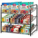 CRZDEAL Stackable Can Rack Organizer Canned Beverage Drink Pets Food Can Storage Dispenser Holds up to 36 Cans for Kitchen Cabinet Pantry Closet (Black)