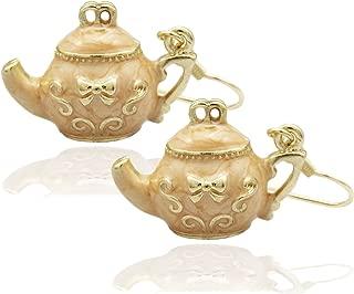 RechicGu Tea Pot Bow Tie Emboss Art Deco Earrings Party WoNdErlaNd Fancy Dress