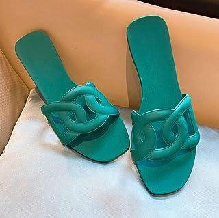 N / A pantoffels, vlakke damesschoenen, zomer casual, vlak, eenregels, dames sandalen-groen_37