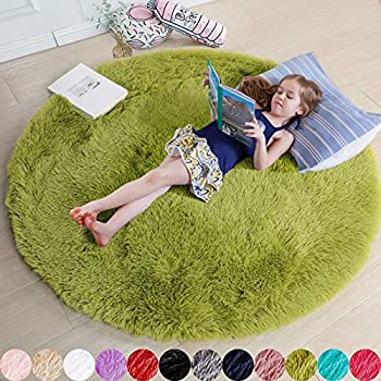 Grass Green Round Rug for Bedroom,Fluffy Circle Rug 4 X4  for Kids Room,Furry Carpet for Teen s Room,Shaggy Circular Rug for Nursery Room,Fuzzy Plush Rug for Dorm,Green Carpet,Cute Room Decor for Baby