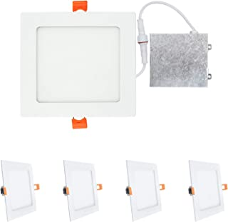 OSTWIN (4 Pack) 6 inch 12W (60 Watt Repl.) IC Rated LED Recessed Low Profile Slim Square Panel Light with Junction Box, Dimmable, 4000K Bright Light 840 Lm. No Can Needed ETL & Energy Star Listed