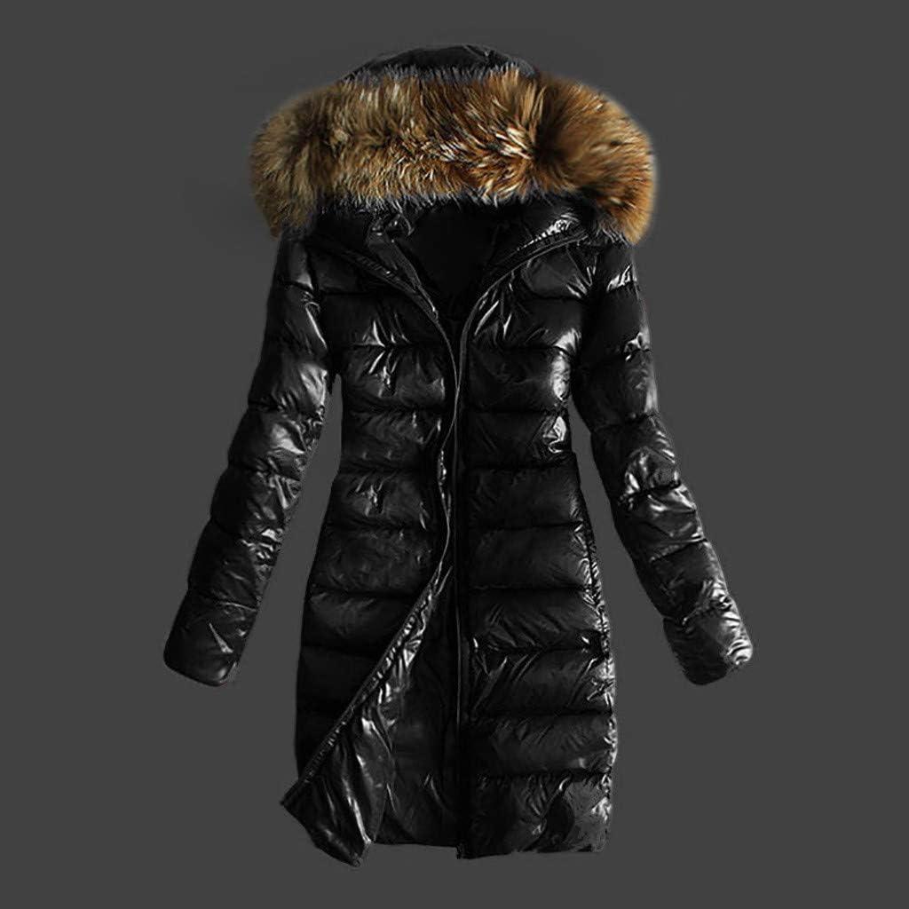 KEERADS Damen Winterjacke Wintermantel Lange Daunenjacke Jacke Outwear Frauen Winter Warm Daunenmantel mit Pelzkragen Mantel Steppmantel Schwarz