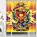 RHDORH Lion Shower Curtain Set with Hooks
