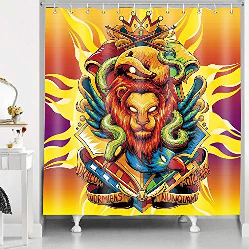 RHDORH YLLMDO34 Duschvorhang, Löwe mit Krone, grüne Schlange Eichhörnchen, Tierwelt, psychedelische Brennender Sonne, Polyester-Stoff, wasserdicht, Badvorhang-Set mit Haken, 183 x 183 cm
