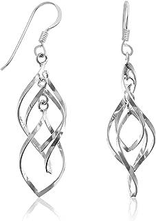 Sterling Silver Polished Triple Twisted Wire Hoop Drop Earrings