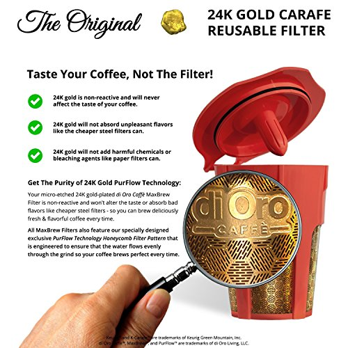 DI ORO - MaxBrew 24K Gold Reusable K-Carafe Filter for Keurig 2.0 - K-Cup Reusable 4-5 Cup Carafe Filter for Keurig 2.0