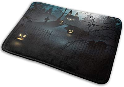 """Scary Old Graveyard and Church in The Woods Doormat Non Slip Indoor/Outdoor Door Mat Floor Mat Home Decor, Entrance Rug Rubber Backing Large 23.6""""(L) x 15.8""""(W)"""