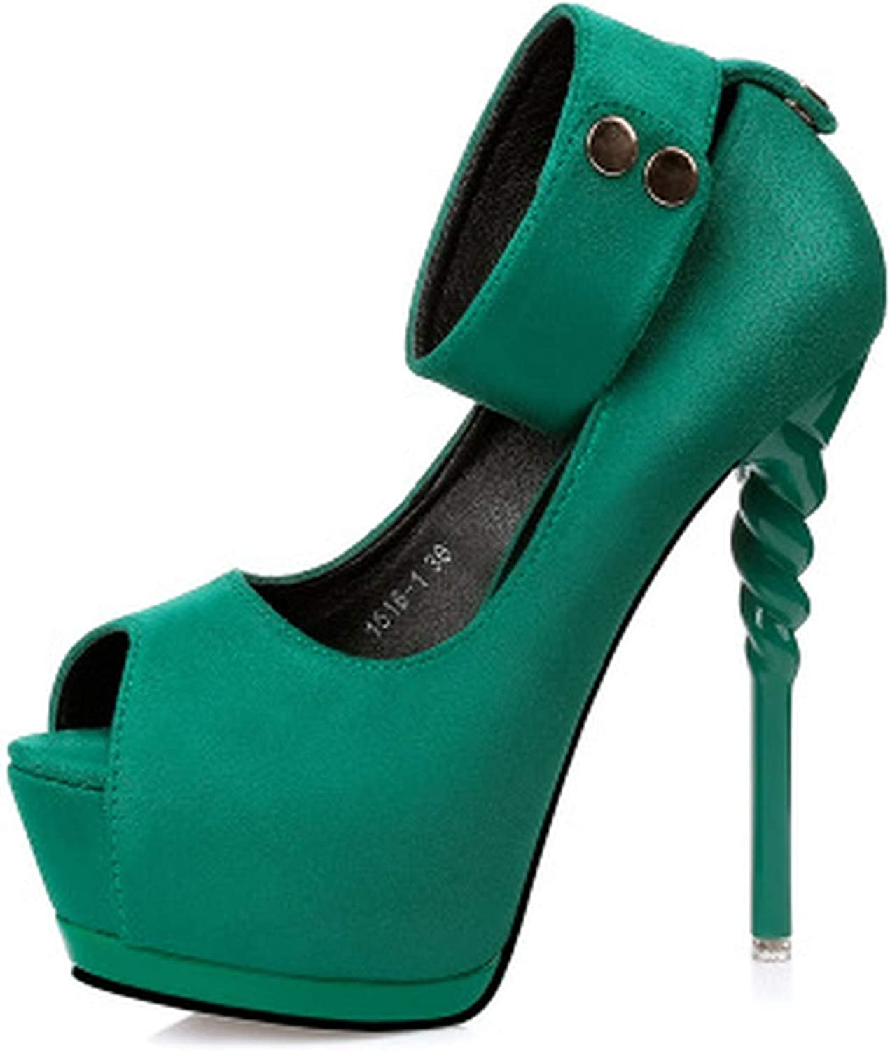 Women's shoes High Heels with Platform Sexy shoes Flock Pumps Anklets Spike Heels 5 colors