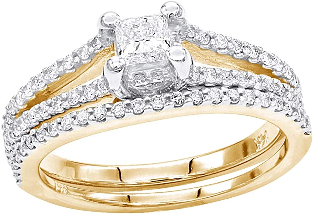 Unique Bridal Set Diamond Engagement Ring and Wedding Band 0.64ctw in 14k Gold by Luxurman