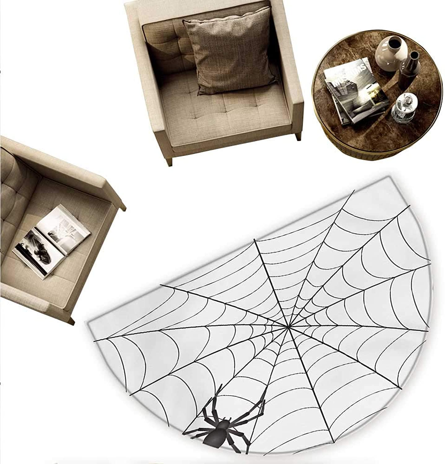 Spider Web Semicircular Cushion Gothic Fairytale Elements Creepy Scary Dangerous Spider Sticky Catch Entry Door Mat H 70.8  xD 106.3  Charcoal Grey White